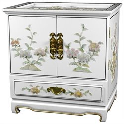 Oriental Furniture Empress Lacquer Jewel Box in White