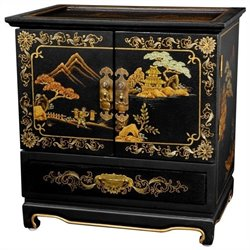 Oriental Furniture Empress Lacquer Jewel Box in Black Crackle