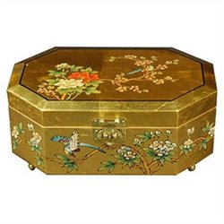Oriental Furniture Violetta Jewelry Box in Gold
