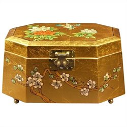 Oriental Furniture Antoinette Jewelry Box in Gold