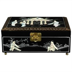 Oriental Furniture Clementina Jewelry Box in Black