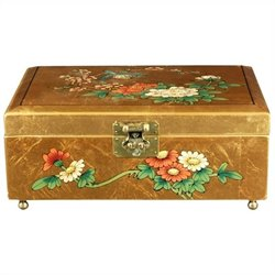 Oriental Furniture Clementina Jewelry Box in Gold