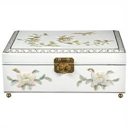 Oriental Furniture Clementina Jewelry Box in White