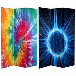 Oriental Furniture 6 ' Tall Tie Dye Canvas Room Divider in Multicolor