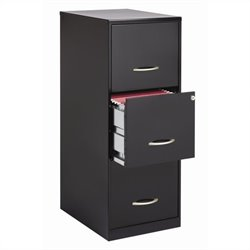 3 Drawer Letter File Cabinet in Black