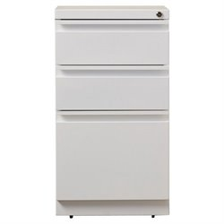 3 Drawer Mobile File Cabinet in White