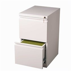 2 Drawer Mobile File Cabinet in White