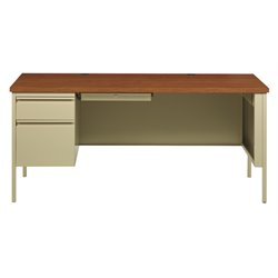Single Pedestal Computer Desk in Putty and Oak