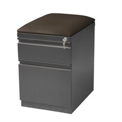 2 Drawer Mobile File Cabinet with Seat in Charcoal