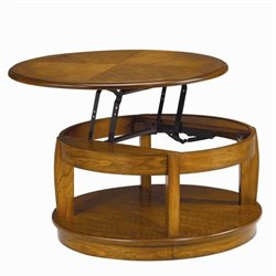 Hammary Ascend Round Lift Top Cocktail Table in Medium Oak