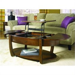 Hammary Concierge Oval Lift-top Cocktail Table in Brown