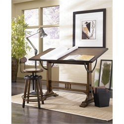 Hammary Studio Home Architect Drafting Desk in Oak