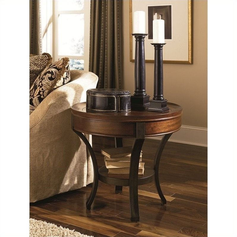Hammary Sunset Valley Round End Table in Rich Mahogany