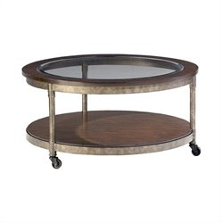 Hammary Structure Round Cocktail Table in Heavily Distressed Brown