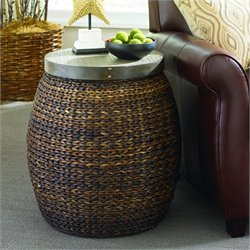 Hammary Hidden Treasures Round Accent Table in Medium Brown