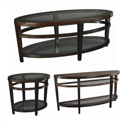 Hammary Urbana 3 Piece Occasional Table Set in Dark Merlot