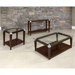 Hammary Solitaire 3 Piece Glass Top Table Set in Rich Dark Brown
