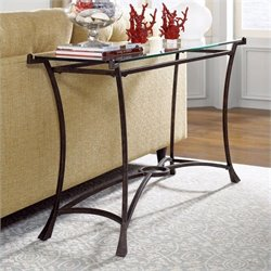 Hammary Sutton Glass Sofa Table in Dark Burnished Steel