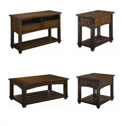 Hammary Tacoma Table Set in Rustic Brown