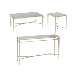 Hammary Mallory 3 Piece Coffee Table Set in Satin Nickel