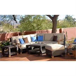 Three Birds Casual Ciera 5 Piece Patio Sectional in Coffee