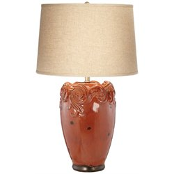 Kathy Ireland by Pacific Coast Country Rose Table Lamp in Terracotta