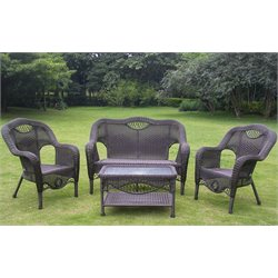 4 Piece Wicker Patio Sofa Set in Black
