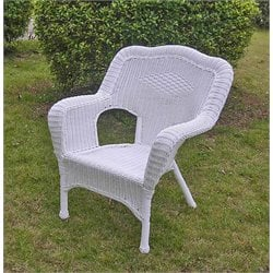 Wicker Patio Chair in White (Set of 2)