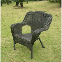 Wicker Patio Chair in Black (Set of 2)