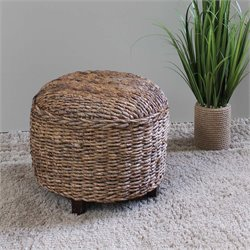 International Caravan Arizona Round Abaca Ottoman in Natural
