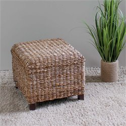 International Caravan Arizona Square Abaca Ottoman in Natural