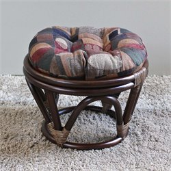 International Caravan Bali Papasan Jacquard Cushion Stool