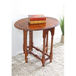 Hand Oval Fold Out Table in Dual Walnut Stain