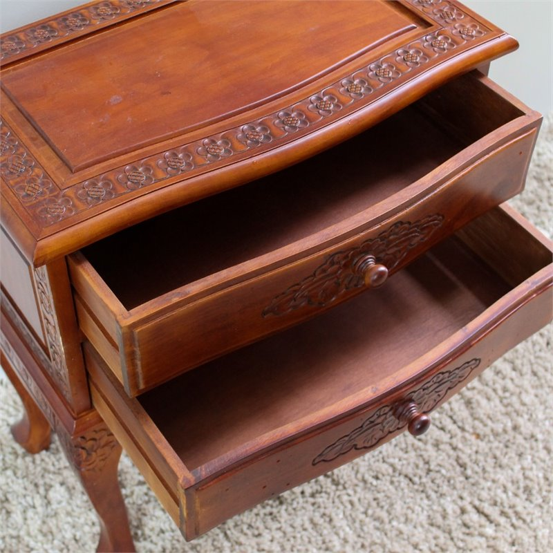 2-Drawer Night Stand in Dual Walnut Stain