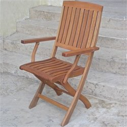 Set of 2 Folding Wood Patio Chairs