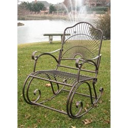 International Caravan Sun Ray Iron High-Back Patio Rocking Chair