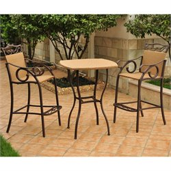 3 PC Wicker Bar Height Bistro Set