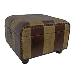 Faux Leather Ottoman Trunk in Mix Pattern