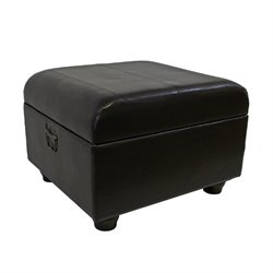 Faux Leather Ottoman Trunk in Chocolate