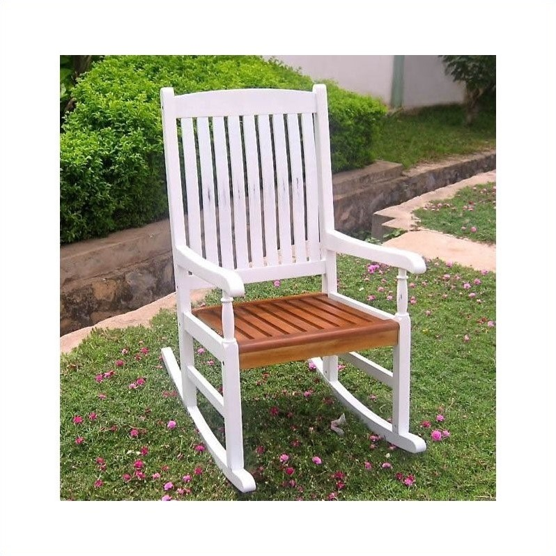 Acacia Wooden Patio Rocker in White/Oak