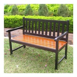 International Caravan Highland Acacia Patio Garden Bench in Black
