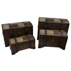 Set of 4 Faux Leather Trunks in Mix