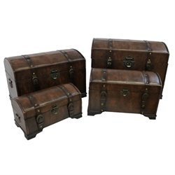 Set of 4 Faux Leather Trunks in Brown