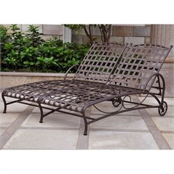 Wrought Iron Double Patio Chaise Lounge