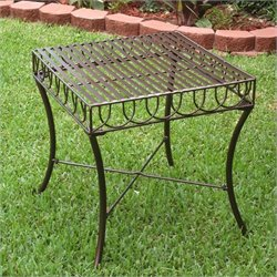 International Caravan Sun Ray Iron Outdoor Patio Side Table