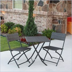 3 Piece Wicker Resin Patio Bistro Set