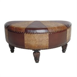 Faux Leather Ottoman in Mix Pattern