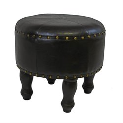 Faux Leather Stool in Dark Chocolate
