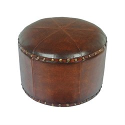 Faux Leather Stool in Brown