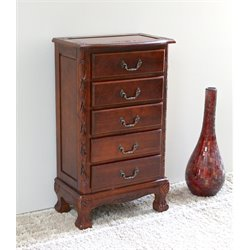 Five Drawer Carved Jewelry Chest in Dual Walnut Stain
